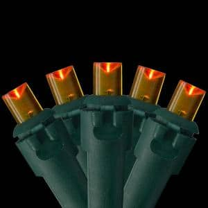 Set of 100 LED Orange Wide Angle Christmas Lights - Green Wire