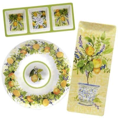 Lemon Zest 3-Piece Multicolored Melamine 19 in. Platter, 14.5 in. 3-Section Relish Tray, 14.5 Chip and Dip Hostess Set
