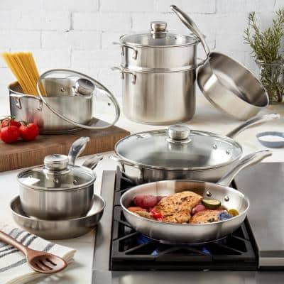 12-Piece Silver Ready Cook Stainless Steel Cookware Set