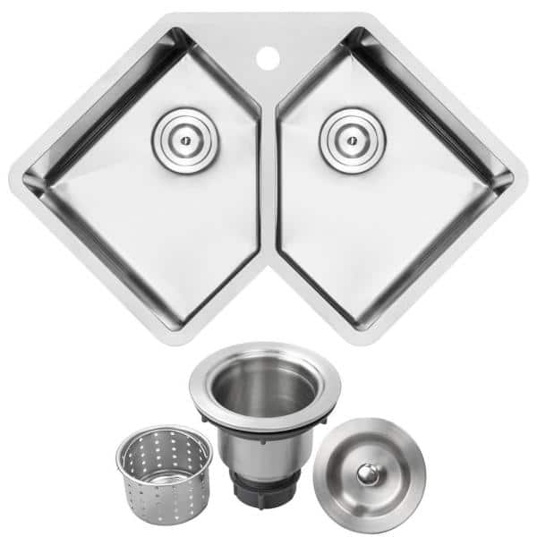 Ticor Bradford Corner Undermount 16 Gauge Stainless Steel 33 In 1 Hole Double Basin Kitchen Sink With Basket Strainer Tr1410 The Home Depot