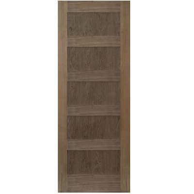 36 in. x 80 in. Shaker Walnut 5 Panel Solid Core Wood Interior Door Slab
