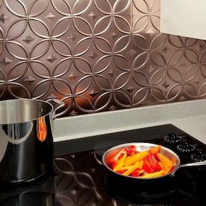18.25 in. x 24.25 in. Brushed Nickel Rings PVC Decorative Backsplash Panel