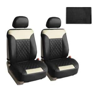 Fh Group Deluxe Faux Leather 47 In X 23 In X 1 In Diamond Pattern Car Seat Cushions Dmpu089bgblk102 The Home Depot