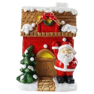 16 in. Christmas Morning LED Lighted Christmas House with Santa Musical Christmas Tabletop Figure
