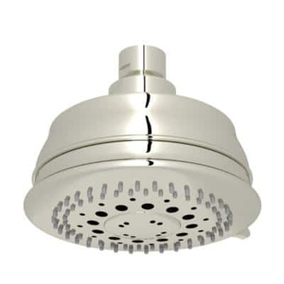 3-Spray 4.3 in. Single Wall Mount Fixed Rain Shower Head in Polished Nickel