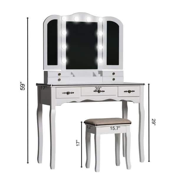 Veikous Modern Wooden White Bedroom Vanity Sets Makeup Table With Stool And Led Bulbs Fold Mirror Szt001 The Home Depot