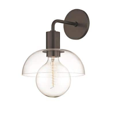 Kyla 1-Light Old Bronze Wall Sconce with Clear Glass