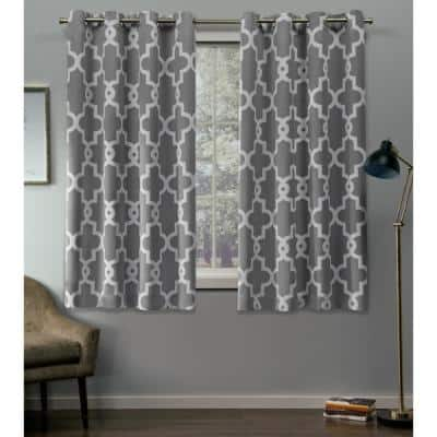 Silver Trellis Thermal Blackout Curtain - 52 in. W x 63 in. L (Set of 2)