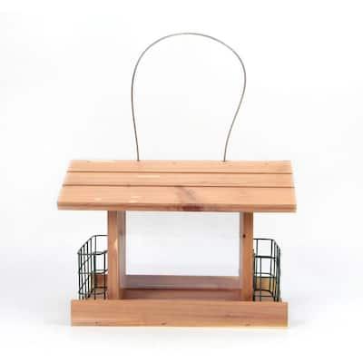 12 in. Red Cedar Wood Long Cottage Double Suet Bird Feeder