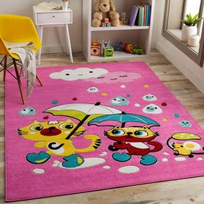 Rainy Days Multi-Colored Pink 7 ft. 10 in. x 10 ft. Area Rug