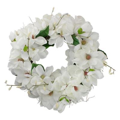 24 in. White Unlit Magnolias Artificial Spring Wreath