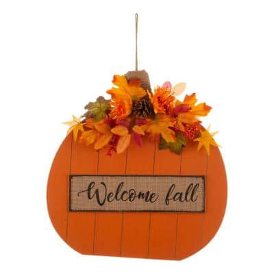 20.28 in. H Fall Wooden Pumpkin with Floral Standing / Hanging Decor (2-Function)
