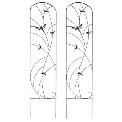 55 in. Steel Dragonfly Delight Decorative Garden Trellis - (Set of 2)