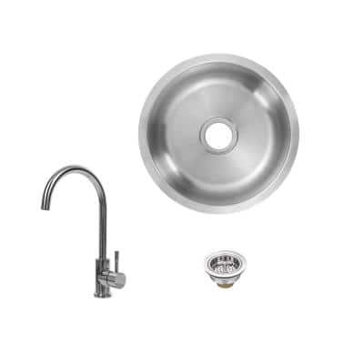 18 Gauge Stainless Steel 16 in. Undermount Bar Sink with Gooseneck Chome Faucet