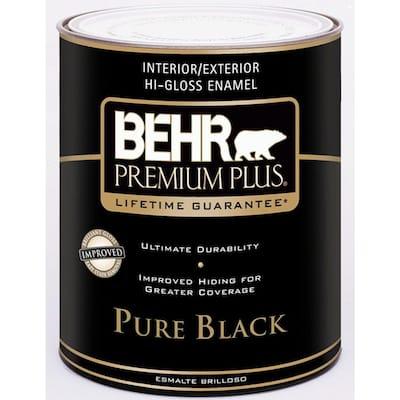 1 qt. Pure Black Hi-Gloss Enamel Interior/Exterior Paint