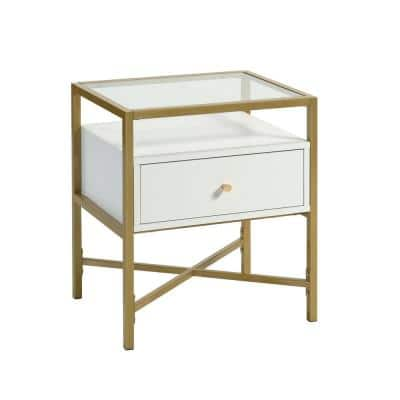 Harper 21.732 in. H White 1-Drawer End Table