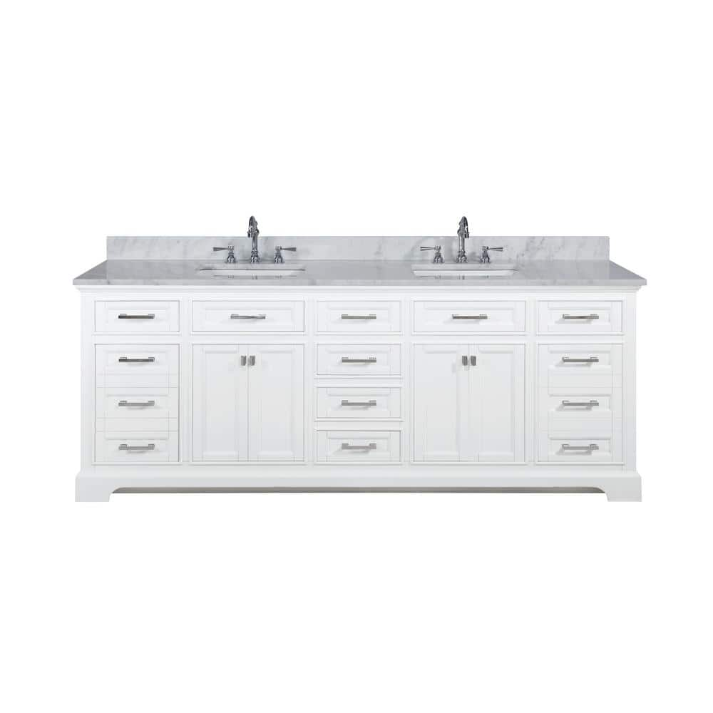 Design Element Milano 84 In W X 22 In D Bath Vanity In White With Quartz Vanity Top In White With White Basin Ml 84 Wt The Home Depot
