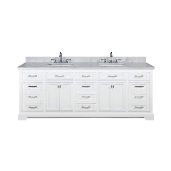 Design Element Milano 84 In W X 22 In D Bath Vanity In White With Quartz Vanity Top In White With White Basin Ml 84 Wt The Home Depot