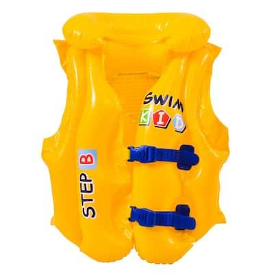 66 lbs. Yellow Swim Kid Step B Inflatable Unisex Water or Swimming Pool Training Vest