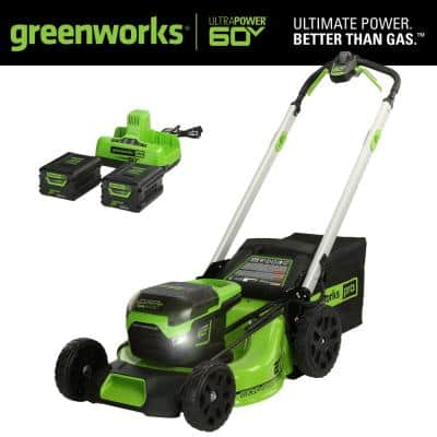 PRO 21 in. 60V Battery Cordless Self-Propelled Walk-Behind Lawn Mower with (2) 4.0 Ah Battery and Charger