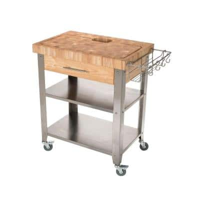 Pro Stadium Natural Kitchen Cart with Chop and Drop System