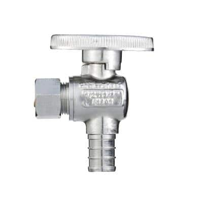 1/2 in. Barb x 3/8 in. O.D. Compression PEX Brass Angle Stop Valve