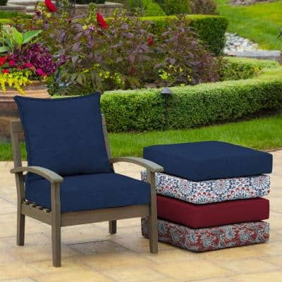Leala Texture 24 in. x 24 in. 2-Piece Deep Seating Outdoor Lounge Chair Cushion in Sapphire