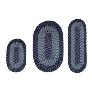 Alpine Collection 3-Piece Navy Stripe Braided Rug Set - (36'' x 54'' : 18'' x 54'' : 18'' x 28'')