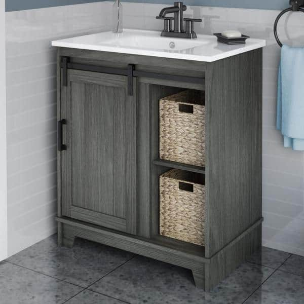 Twin Star Home 30 In D X 18 In W X 34 In Barn Door Bath Vanity In Geneva Oak W Vanity Top In White And White Basin 30bv34004 Po130 The Home Depot
