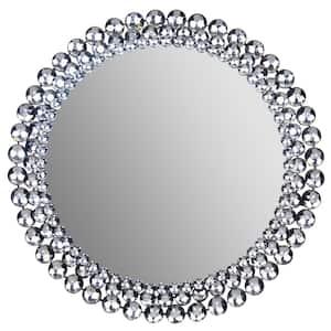 Medium Round Silver Art Deco Mirror (24 in. H x 24 in. W)