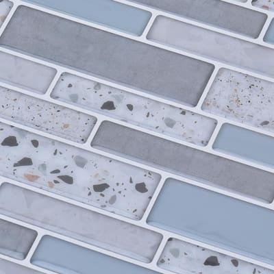 Ranbrick 11.8 in. x 11.8 in. Vinyl Peel and Stick Backsplash Tile in Light Blue (10 Sheets/Case)