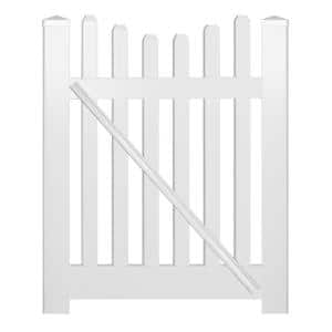 Hampshire 5 ft. W x 4 ft. H White Vinyl Picket Fence Gate Kit Includes Gate Hardware