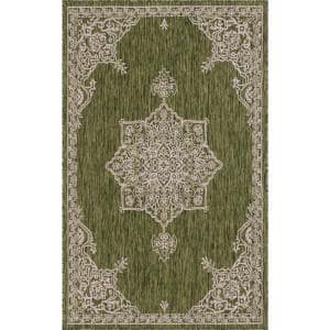 Green Antique Outdoor 5 ft. x 8 ft. Area Rug