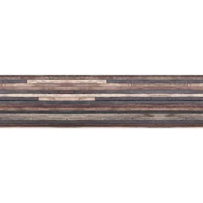Brown Wood Strips Peel and Stick Backsplash Wall Decal