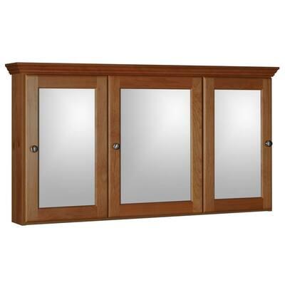 Ultraline 48 in. W x 27 in. H x 6-1/2 in. D Framed Tri-View Surface-Mount Bathroom Medicine Cabinet in Medium Alder
