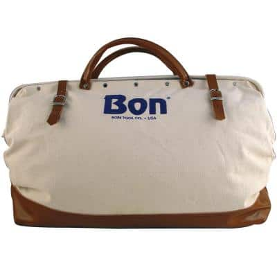 20 in. Canvas Tool Bag with Leather Bottom in White