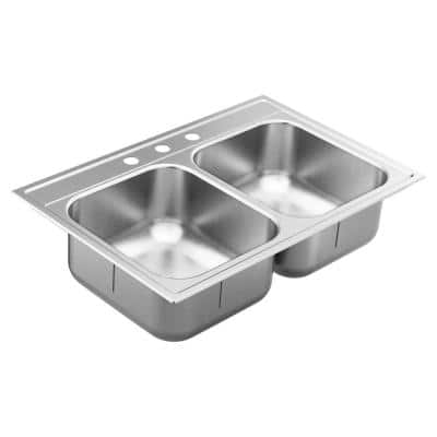 1800 Series Stainless Steel 33 in. 3-Hole Double Bowl Drop-In Kitchen Sink