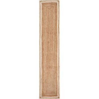 Bordered 16 in. x 80 in. Tan Bleached Jute Table Runner