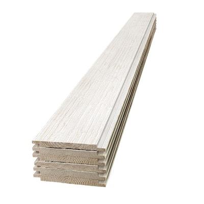 1 in. x 8 in. x 4 ft. Barn Wood White Shiplap Pine Board (6-Pack)