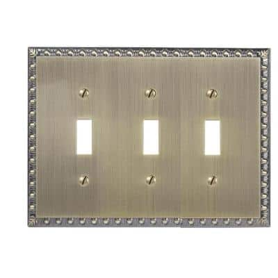 Antiquity 3 Gang Toggle Metal Wall Plate - Brushed Brass