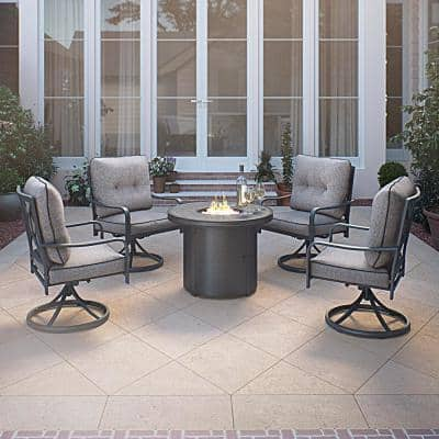 Davenport 5-Piece Gray Aluminum Patio Conversation Set with Fire Pit and Gray Cushions