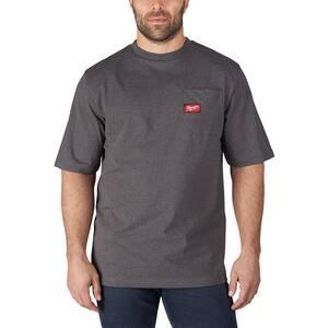 Men's Large Gray Heavy Duty Cotton/Polyester Short-Sleeve Pocket T-Shirt