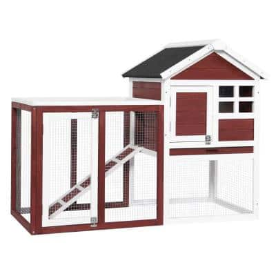 Wooden Rabbit Hutch Bunny Cage for Outdoor and Indoor with Ramp Red