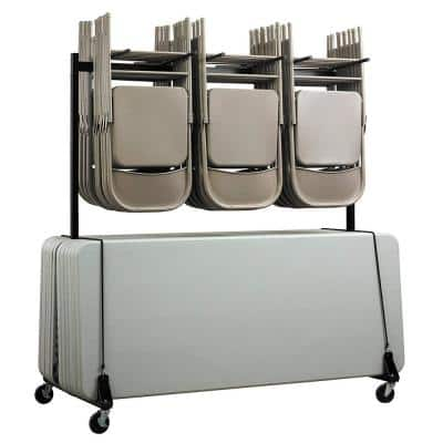 65 in x 33.7 in. x 67 in. Folding Chair and Table Combo Cart in Black