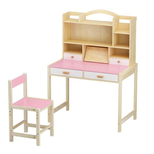 Chair Set Adjustable Height Kids Desk, Pink Wooden School Desk