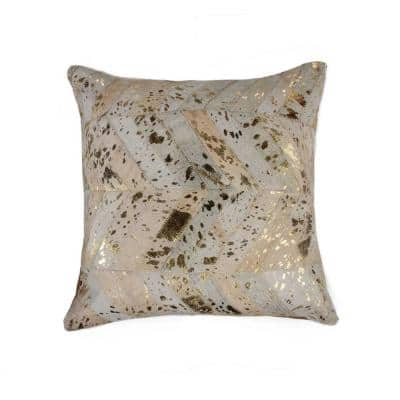 Josephine Gold Striped Cowhide 18 in. L x 18 in. W Throw Pillow