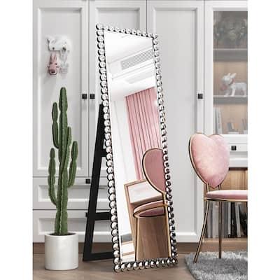 18 in. x 58 in. Modern Rectangle Framed Beveled Glass Standing Mirror