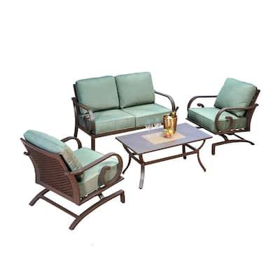 Milano 4-Piece Aluminum Patio Deep Seating Set with Teal Cushions