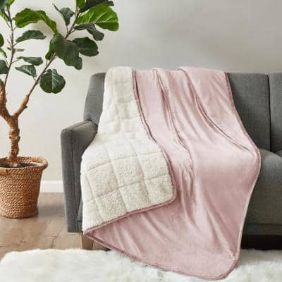 Velvet to Berber Blush 60 in. x 80 in. 15 lbs. Weighted Blanket