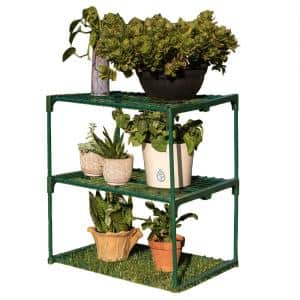 27.25 in. W x 19.25 in. D x 29.5 in. H 3-Tier Greenhouse Plant Growing Rack